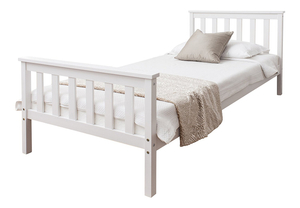 White Wood Single Bed Frame