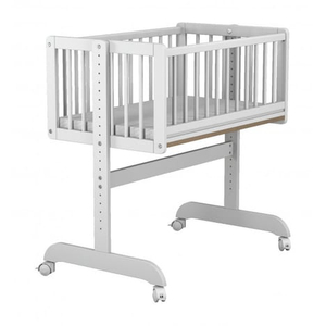 Pine Wood Baby Crib White Painting
