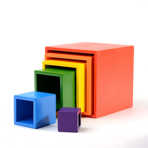 Educational Wood Rainbow Square Blocks
