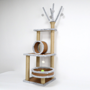 Cat Climbing Wood Tree House with Pet Toys