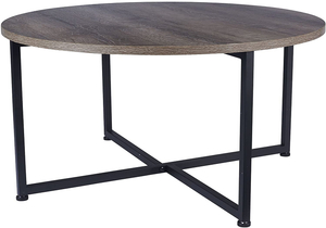 Steel Frame Wood Round Coffee Table