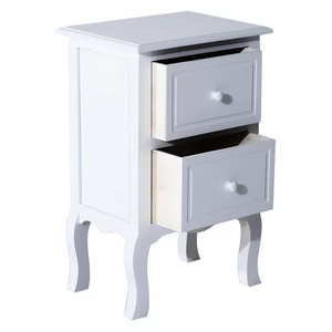 White MDF Wood Night Table with Drawer